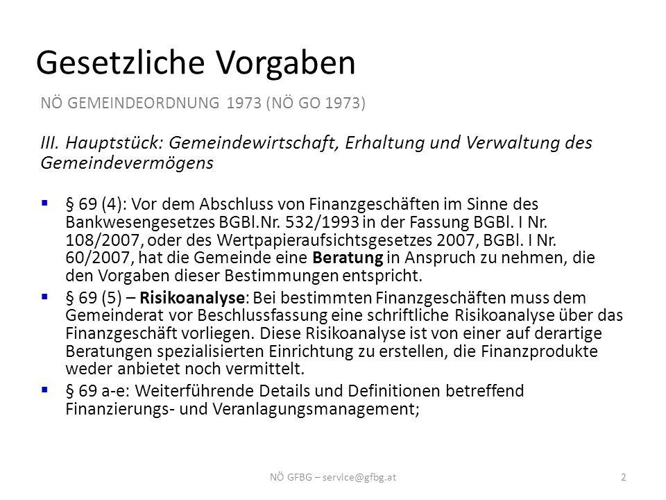 Gesetzliche Vorgaben NÖ GEMEINDEORDNUNG 1973 (NÖ GO 1973) III. Hauptstück: Gemeindewirtschaft, Erhaltung und Verwaltung des Gemeindevermögens  § 69 (