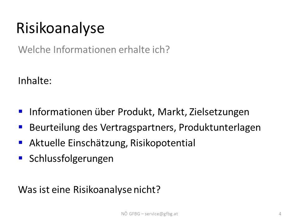 Risikoanalyse Welche Informationen erhalte ich? Inhalte:  Informationen über Produkt, Markt, Zielsetzungen  Beurteilung des Vertragspartners, Produk