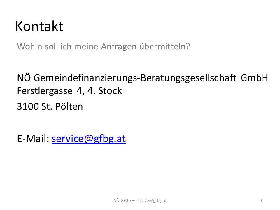 Kontakt Wohin soll ich meine Anfragen übermitteln? NÖ Gemeindefinanzierungs-Beratungsgesellschaft GmbH Ferstlergasse 4, 4. Stock 3100 St. Pölten E-Mai