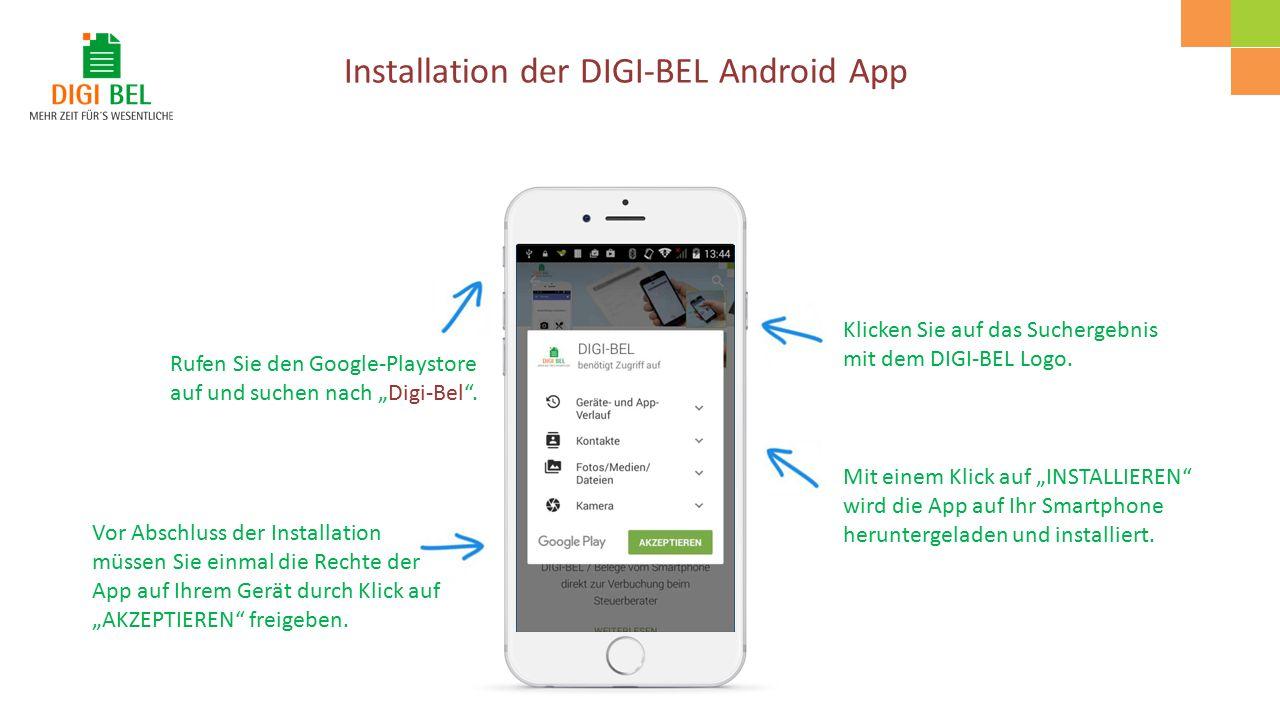 """Rufen Sie den Google-Playstore auf und suchen nach """"Digi-Bel ."""