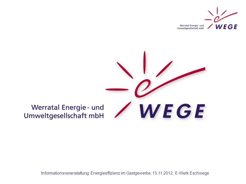 """WEGE:  wurde im September 2011 offiziell gegründet  100%-ige Tochter der Wirtschaftsförderungsgesellschaft Werra-Meißner-Kreis mbH An ihr beteiligt sind: Landkreis WM, alle Städten und Gemeinden, Sparkasse WM, VR-Bank WM, IHK, HWK und KHW WM  Die """"Werratal Energie- und Umweltgesellschaft mbh (WEGE) wird gefördert durch Mittel des Landes Hessen und der Europäischen Union."""