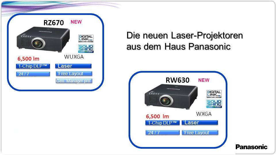 1 RZ670 RW630 1-Chip DLP™ 24 / 7 6,500 lm WUXGA 6,500 lm WXGA Free Layout Laser Geo.