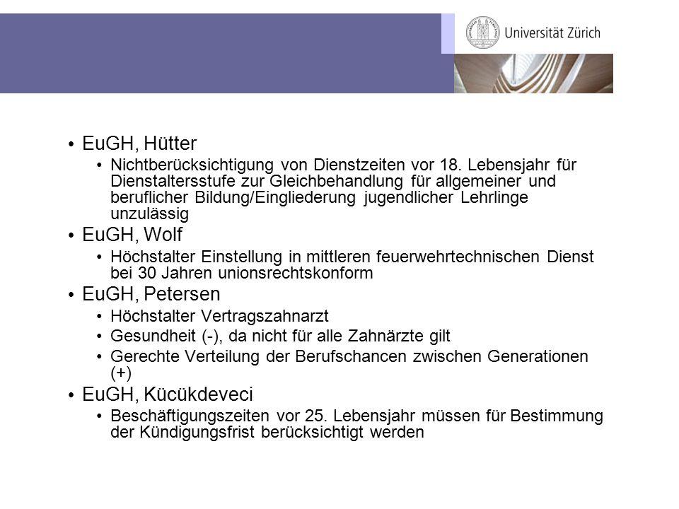 EuGH, Hütter Nichtberücksichtigung von Dienstzeiten vor 18. Lebensjahr für Dienstaltersstufe zur Gleichbehandlung für allgemeiner und beruflicher Bild