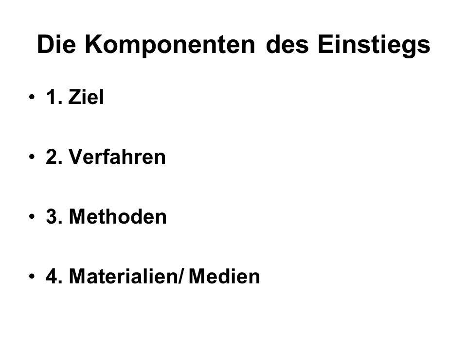 Die Komponenten des Einstiegs 1. Ziel 2. Verfahren 3. Methoden 4. Materialien/ Medien