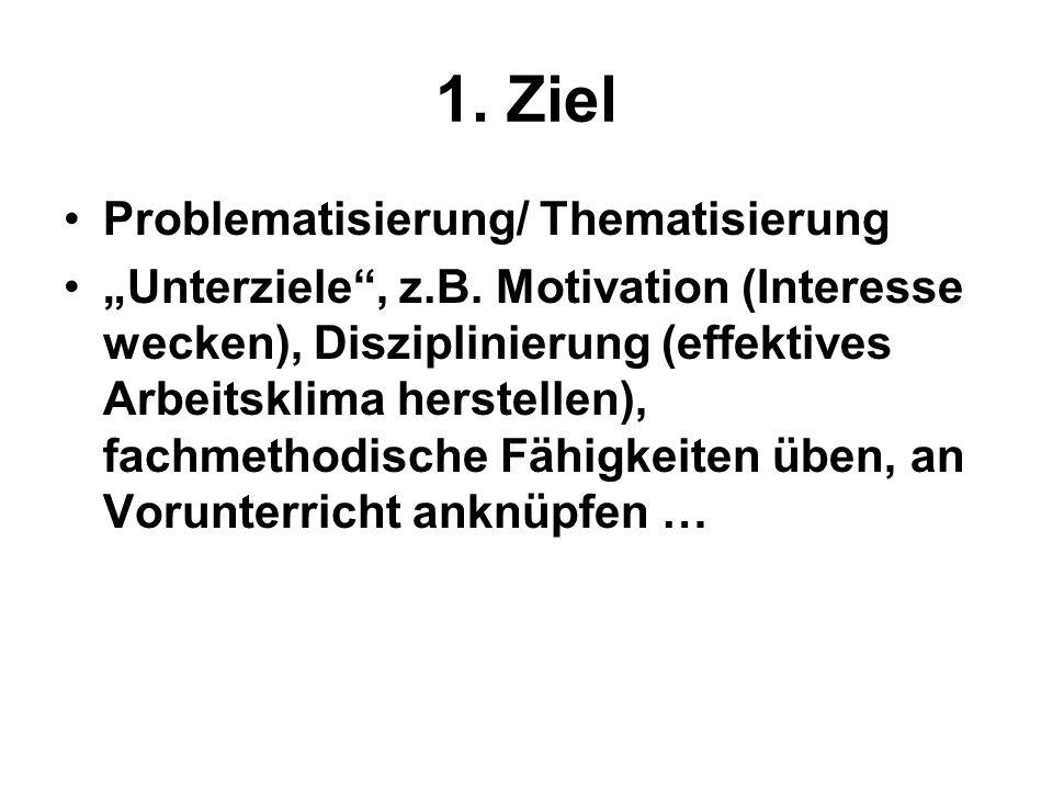 """1. Ziel Problematisierung/ Thematisierung """"Unterziele"""", z.B. Motivation (Interesse wecken), Disziplinierung (effektives Arbeitsklima herstellen), fach"""