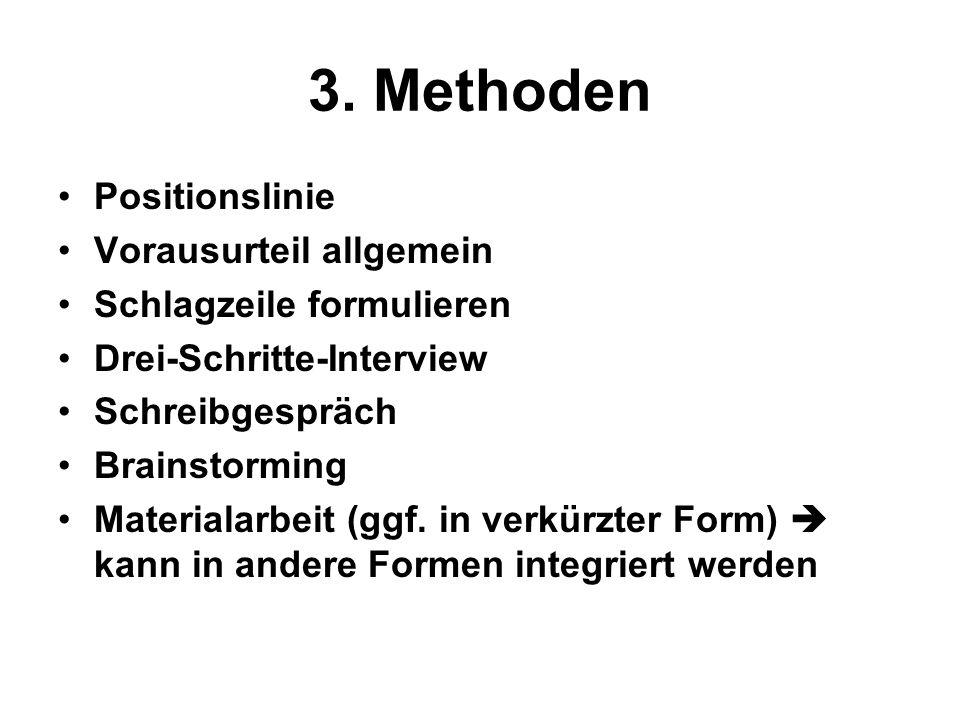 3. Methoden Positionslinie Vorausurteil allgemein Schlagzeile formulieren Drei-Schritte-Interview Schreibgespräch Brainstorming Materialarbeit (ggf. i