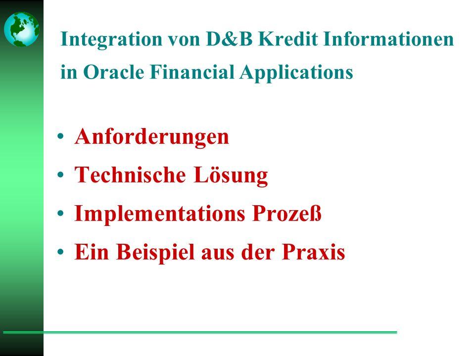 Anforderungen an eine konsistente Kredit Politik Kredit Entscheidungen sollten sein :  akkurat, zuverlässig & konsistent  schnell und pünktlich geliefert werden Dies kann erreicht werden durch:  best of breed Lösung - Oracle  Akkurate online Informationen von D&B