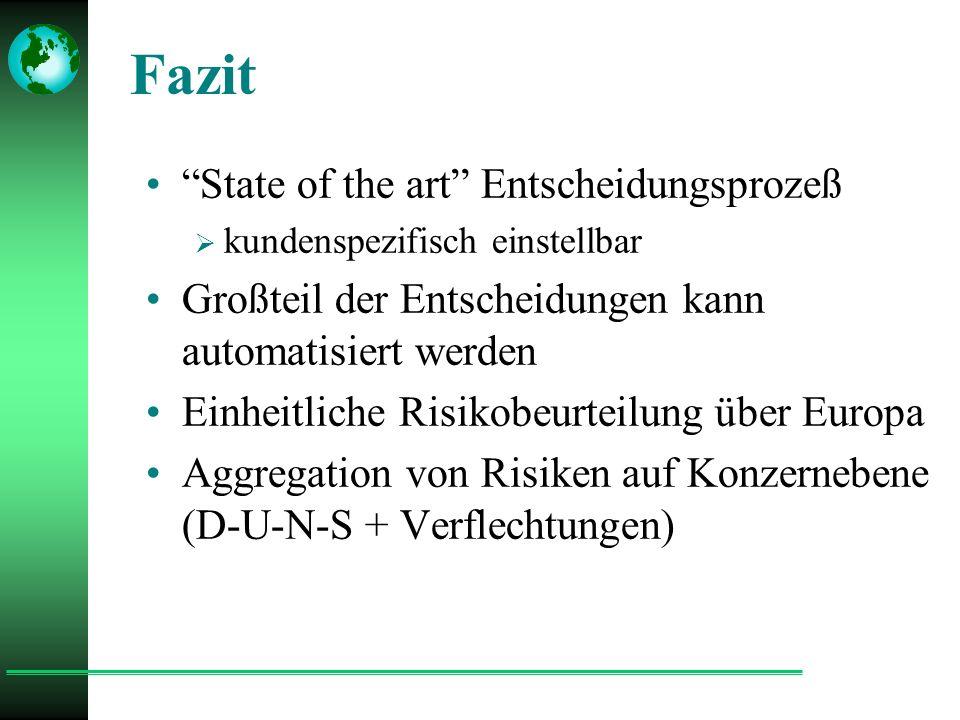 Fazit State of the art Entscheidungsprozeß  kundenspezifisch einstellbar Großteil der Entscheidungen kann automatisiert werden Einheitliche Risikobeurteilung über Europa Aggregation von Risiken auf Konzernebene (D-U-N-S + Verflechtungen)