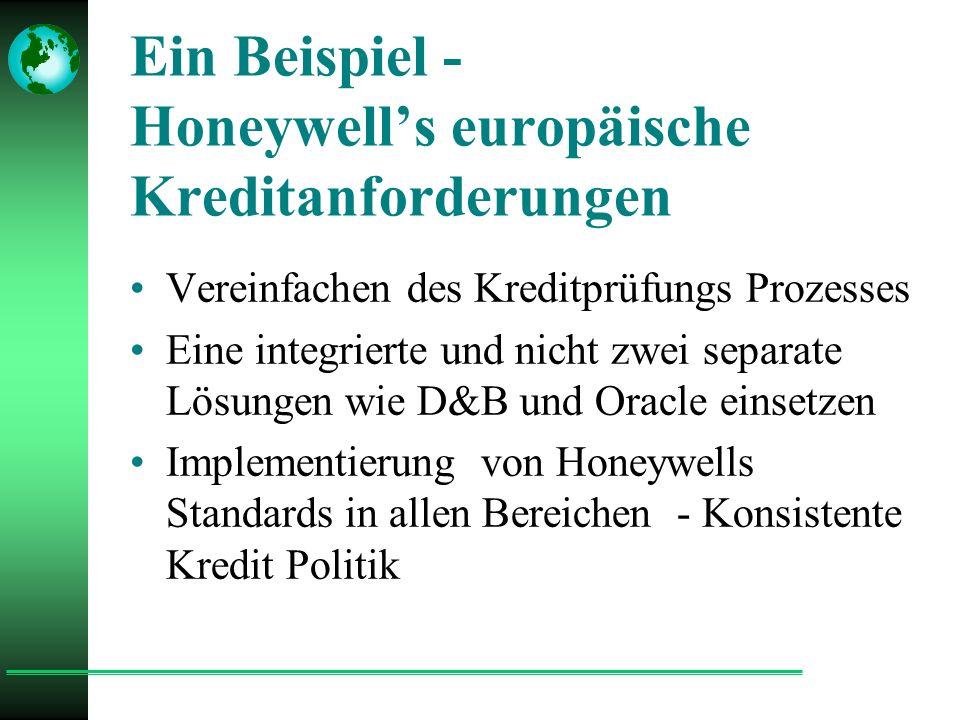 Ein Beispiel - Honeywell's europäische Kreditanforderungen Vereinfachen des Kreditprüfungs Prozesses Eine integrierte und nicht zwei separate Lösungen wie D&B und Oracle einsetzen Implementierung von Honeywells Standards in allen Bereichen - Konsistente Kredit Politik