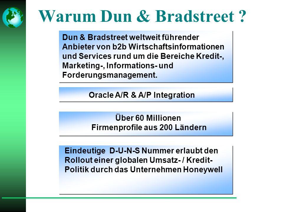Dun & Bradstreet weltweit führender Anbieter von b2b Wirtschaftsinformationen und Services rund um die Bereiche Kredit-, Marketing-, Informations- und Forderungsmanagement.