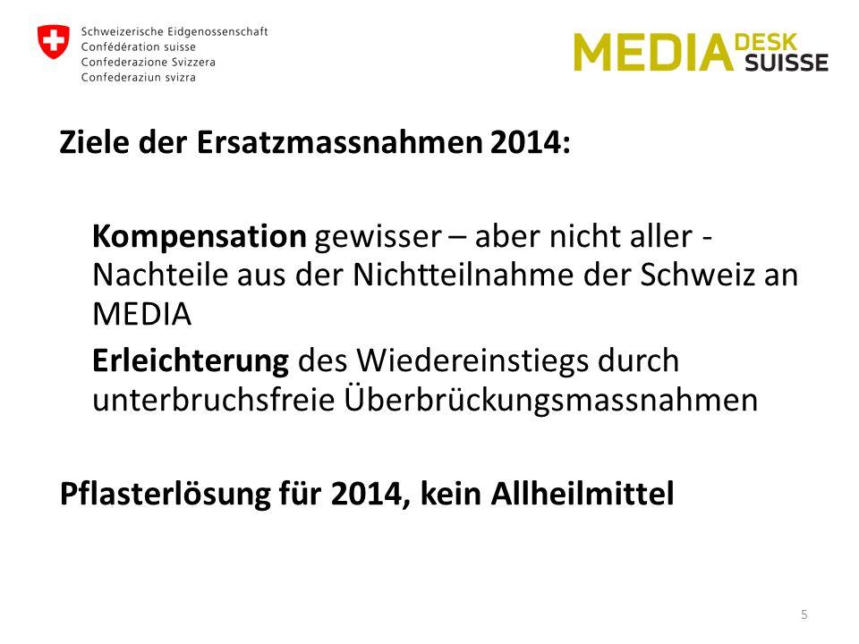 Ziele der Ersatzmassnahmen 2014: Kompensation gewisser – aber nicht aller - Nachteile aus der Nichtteilnahme der Schweiz an MEDIA Erleichterung des Wiedereinstiegs durch unterbruchsfreie Überbrückungsmassnahmen Pflasterlösung für 2014, kein Allheilmittel 5