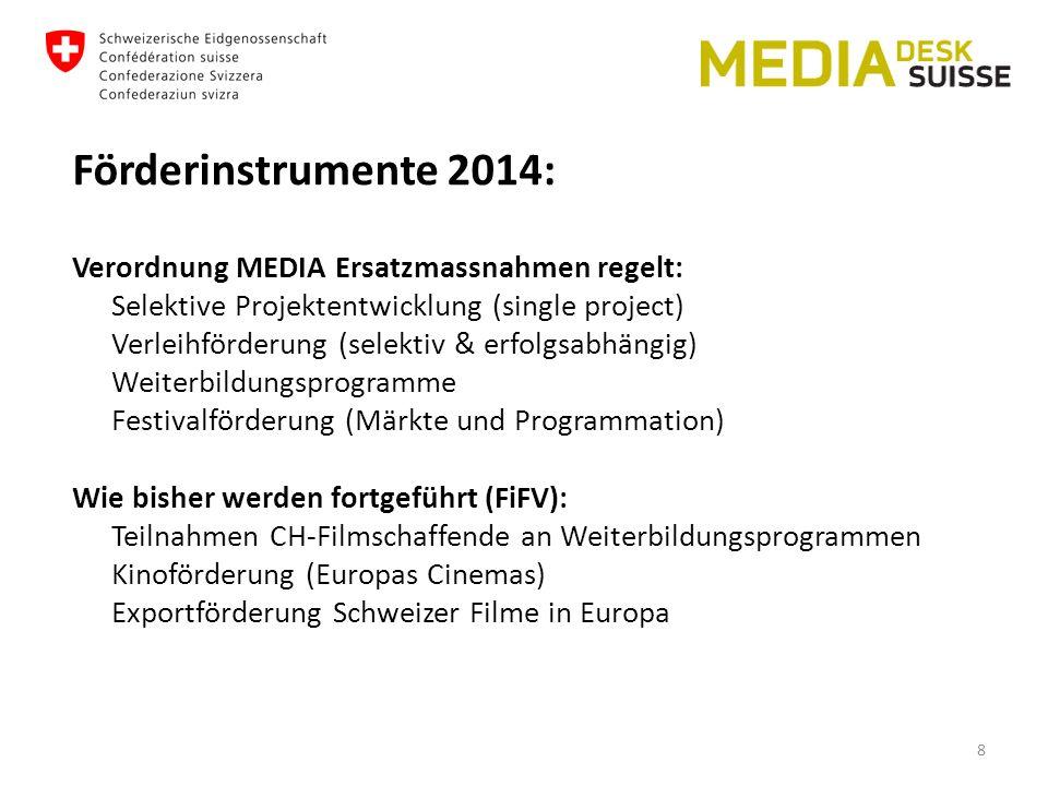 Förderinstrumente 2014: Verordnung MEDIA Ersatzmassnahmen regelt: Selektive Projektentwicklung (single project) Verleihförderung (selektiv & erfolgsabhängig) Weiterbildungsprogramme Festivalförderung (Märkte und Programmation) Wie bisher werden fortgeführt (FiFV): Teilnahmen CH-Filmschaffende an Weiterbildungsprogrammen Kinoförderung (Europas Cinemas) Exportförderung Schweizer Filme in Europa 8