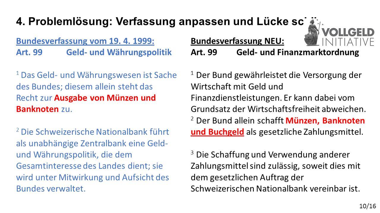 4. Problemlösung: Verfassung anpassen und Lücke schliessen Bundesverfassung vom 19.