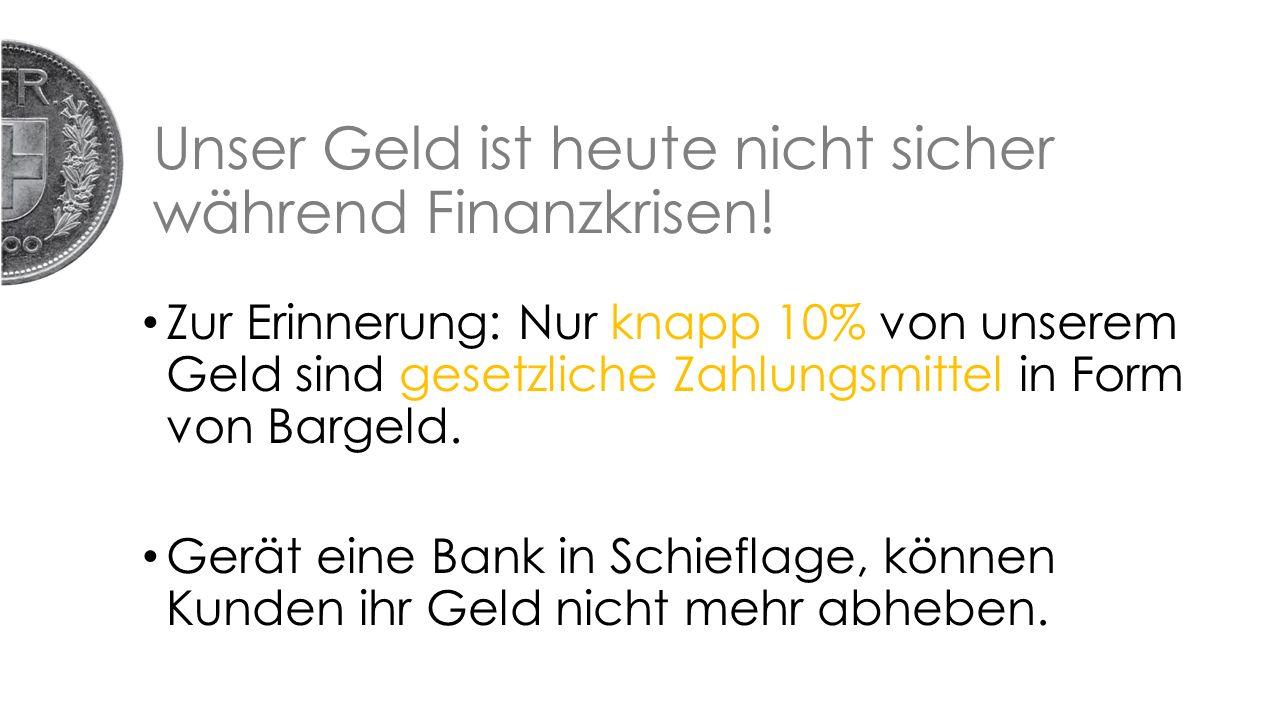 Unser Geld ist heute nicht sicher während Finanzkrisen.