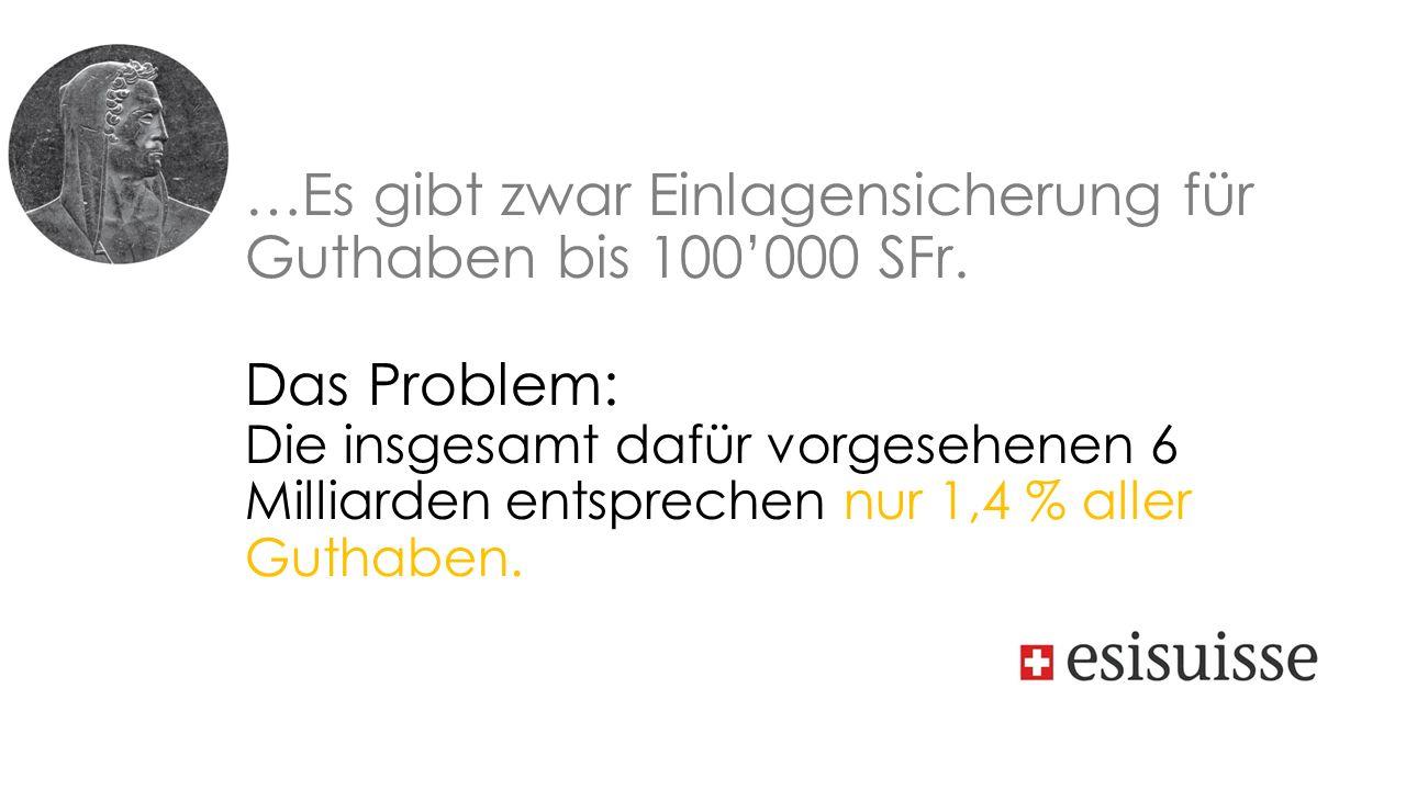 …Es gibt zwar Einlagensicherung für Guthaben bis 100'000 SFr.