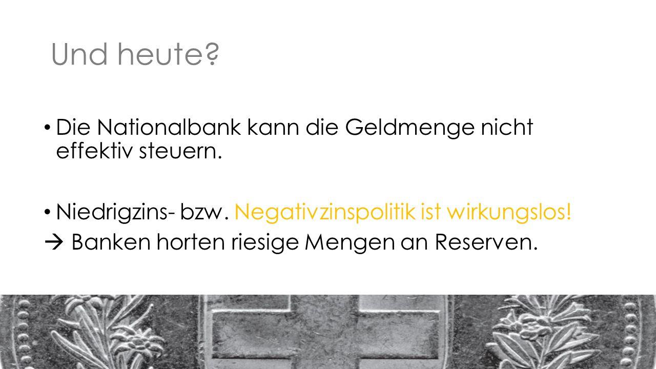 Und heute. Die Nationalbank kann die Geldmenge nicht effektiv steuern.