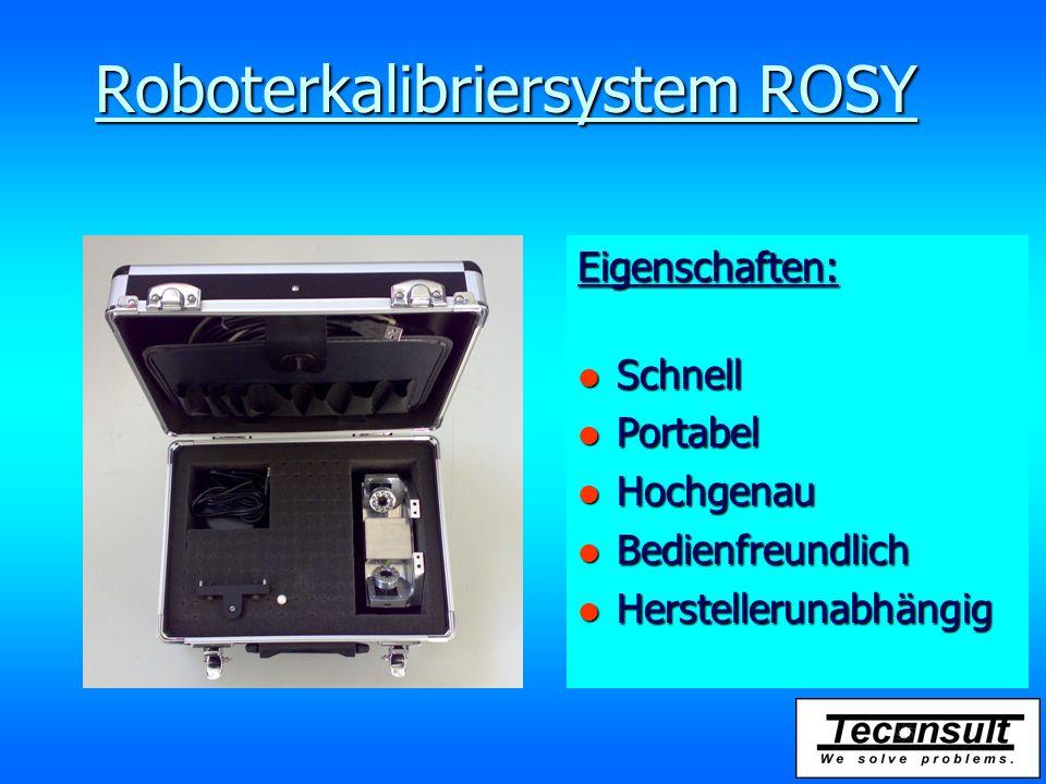 Roboterkalibriersystem ROSY Eigenschaften: l Schnell l Portabel l Hochgenau l Bedienfreundlich l Herstellerunabhängig