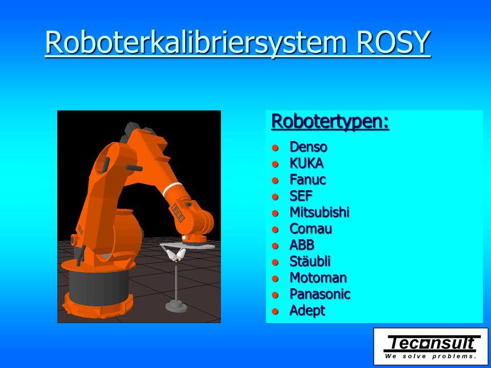 Roboterkalibriersystem ROSY Robotertypen: l Denso l KUKA l Fanuc l SEF l Mitsubishi l Comau l ABB l Stäubli l Motoman l Panasonic l Adept