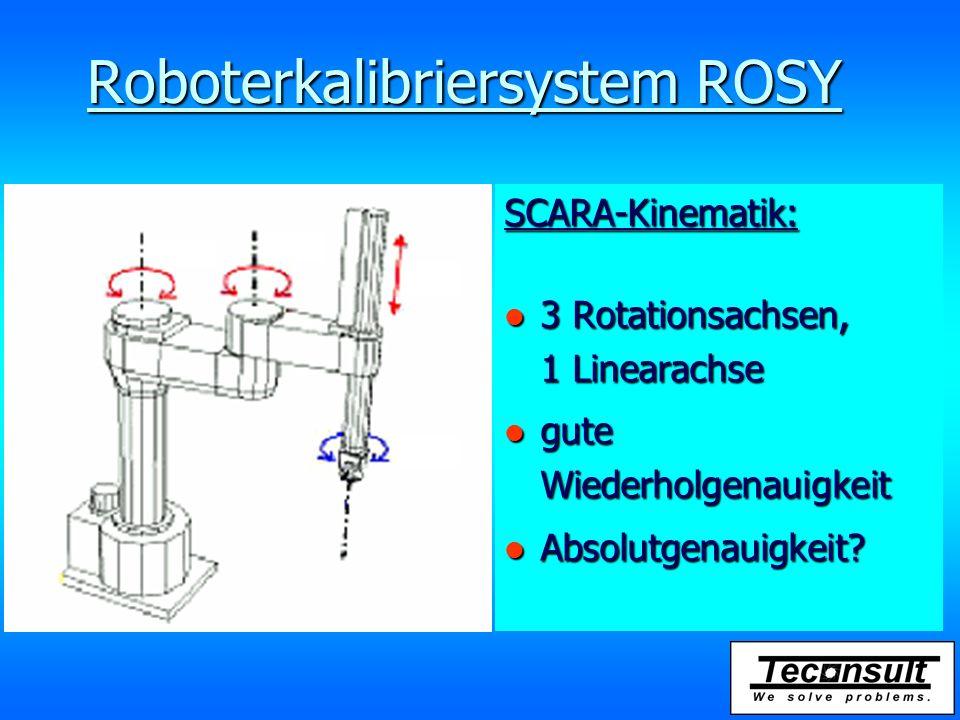 SCARA-Kinematik: l 3 Rotationsachsen, 1 Linearachse l gute Wiederholgenauigkeit l Absolutgenauigkeit? Roboterkalibriersystem ROSY