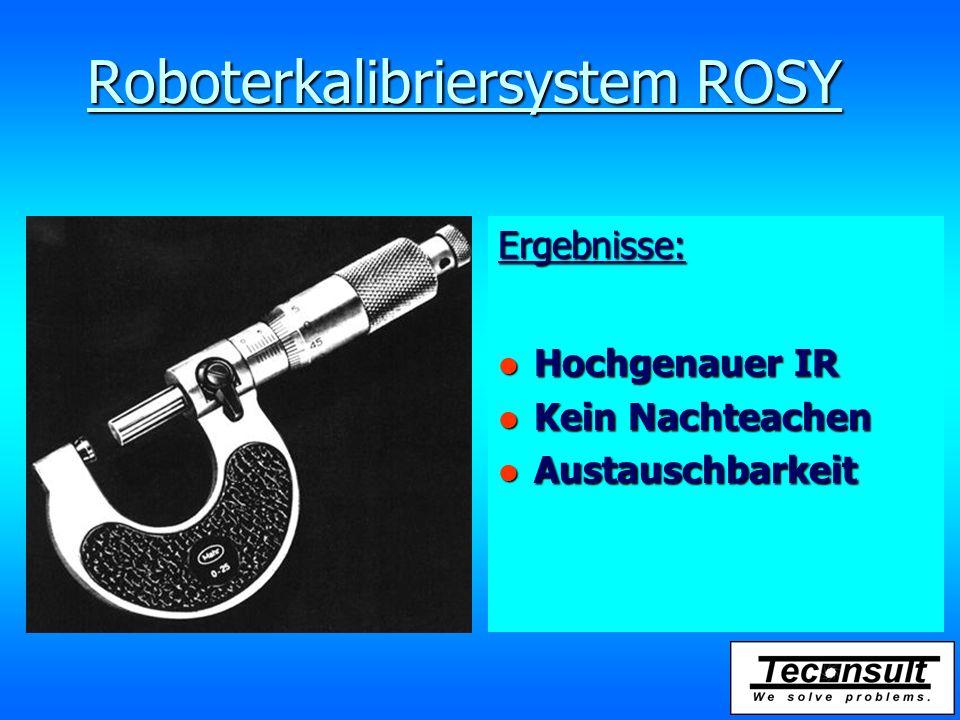 Roboterkalibriersystem ROSY Ergebnisse: l Hochgenauer IR l Kein Nachteachen l Austauschbarkeit