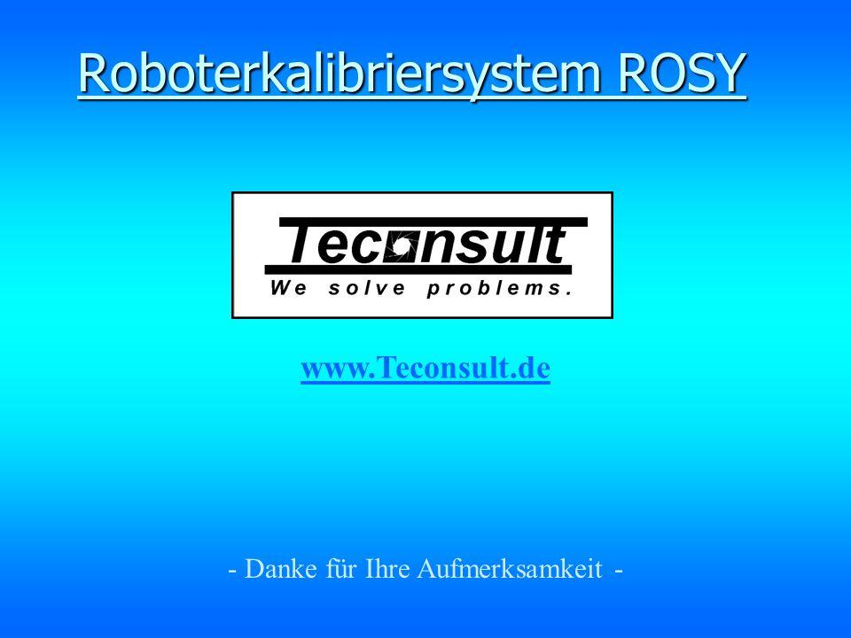 - Danke für Ihre Aufmerksamkeit - Roboterkalibriersystem ROSY www.Teconsult.de
