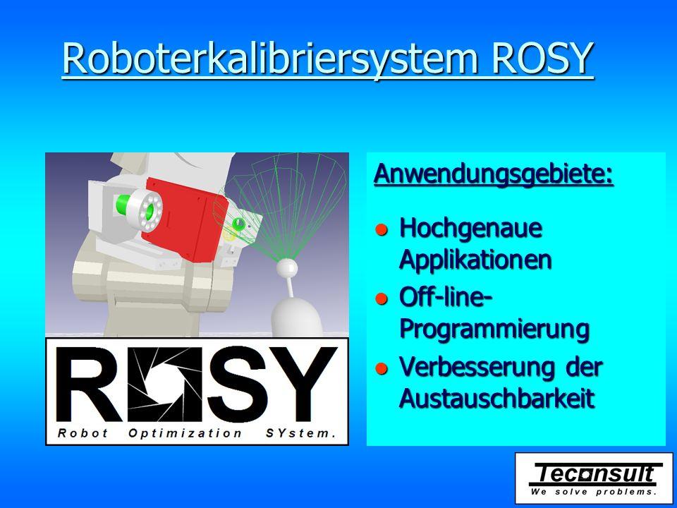 Roboterkalibriersystem ROSY Möglichkeiten: l Vermessung und l Kalibrierung von: l Werkzeug l Werkstück l Roboter
