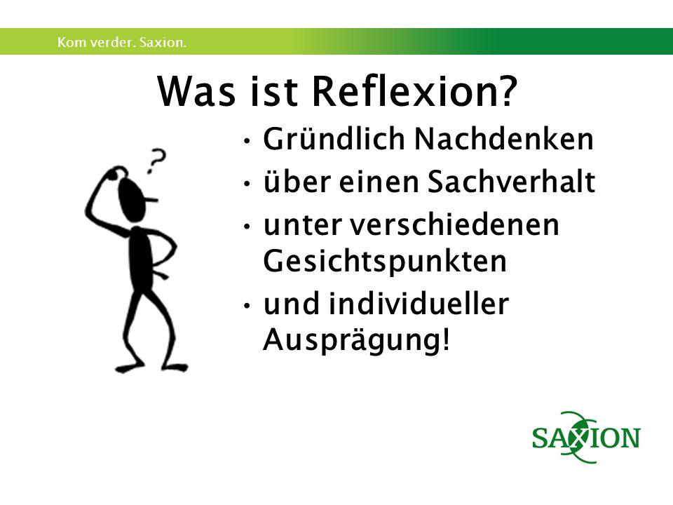 Kom verder. Saxion. Was ist Reflexion.