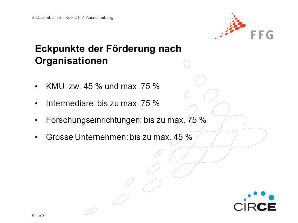 6. Dezember 06 – Kick-Off 2. Ausschreibung Seite 32 Eckpunkte der Förderung nach Organisationen KMU: zw. 45 % und max. 75 % Intermediäre: bis zu max.