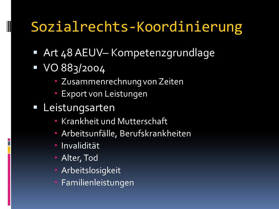 Sozialrechts-Koordinierung  Art 48 AEUV– Kompetenzgrundlage  VO 883/2004  Zusammenrechnung von Zeiten  Export von Leistungen  Leistungsarten  Krankheit und Mutterschaft  Arbeitsunfälle, Berufskrankheiten  Invalidität  Alter, Tod  Arbeitslosigkeit  Familienleistungen