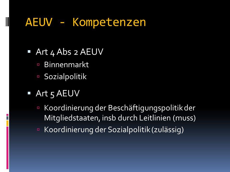 AEUV - Kompetenzen  Art 4 Abs 2 AEUV  Binnenmarkt  Sozialpolitik  Art 5 AEUV  Koordinierung der Beschäftigungspolitik der Mitgliedstaaten, insb durch Leitlinien (muss)  Koordinierung der Sozialpolitik (zulässig)