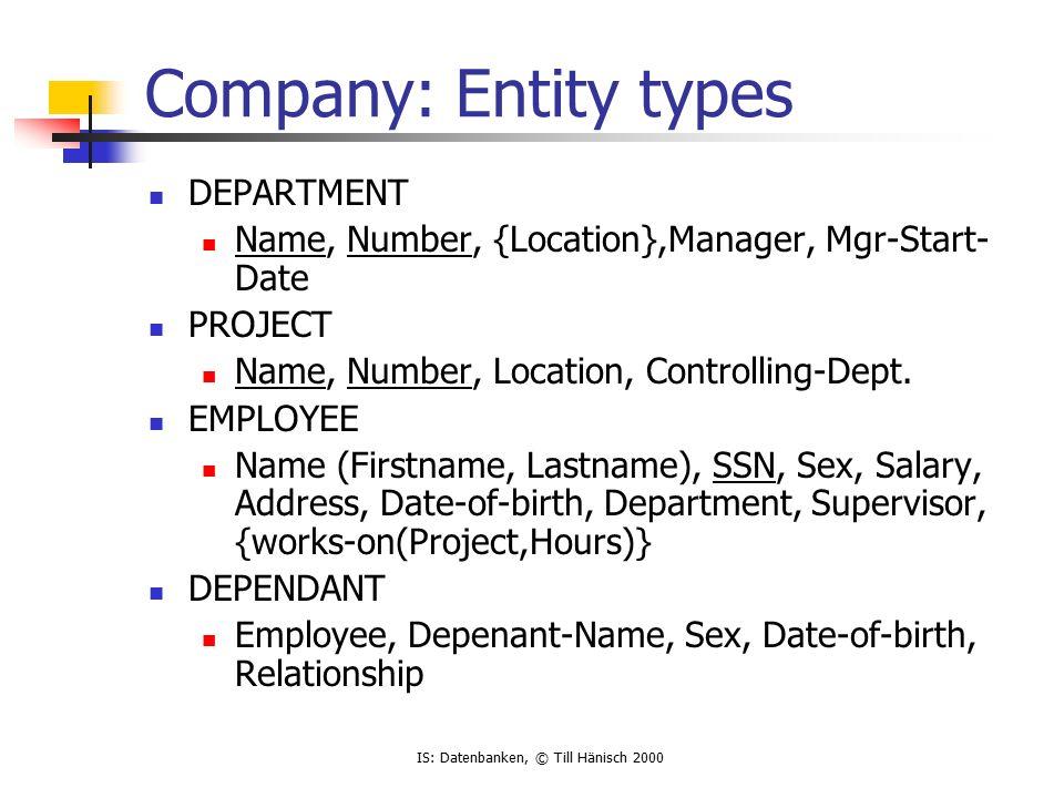 IS: Datenbanken, © Till Hänisch 2000 Company: Relationships 1.