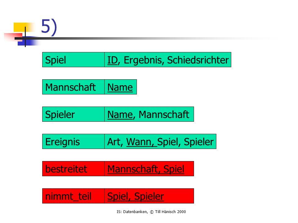 IS: Datenbanken, © Till Hänisch 2000 FERTIG !.