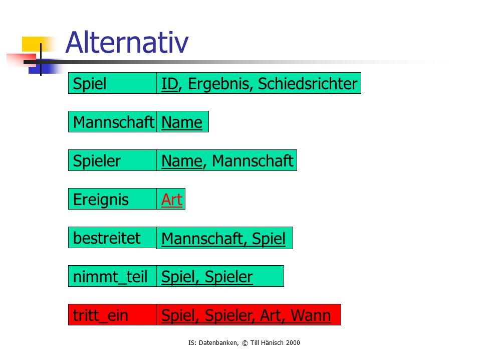 IS: Datenbanken, © Till Hänisch 2000 Normalisierung empnoenamedeptnodname 1smith10marketing 2jones20sales 3scott10marketing 4brown30it