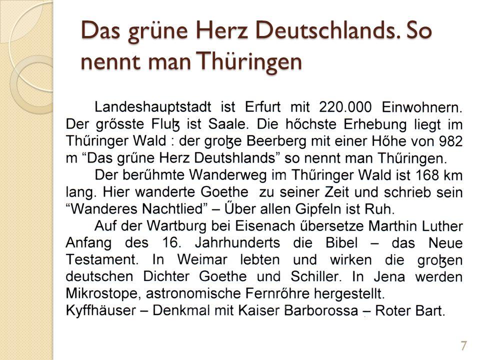 Genitiv der Eigennamen Thüringen Deutschland Goethe und Schiller Luther Barbarossa Finden Sie die Eigennamen im Text 8