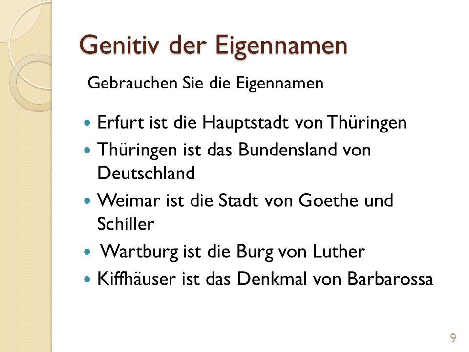 Genitiv der Eigennamen Erfurt ist die Hauptstadt von Thüringen Thüringen ist das Bundensland von Deutschland Weimar ist die Stadt von Goethe und Schil