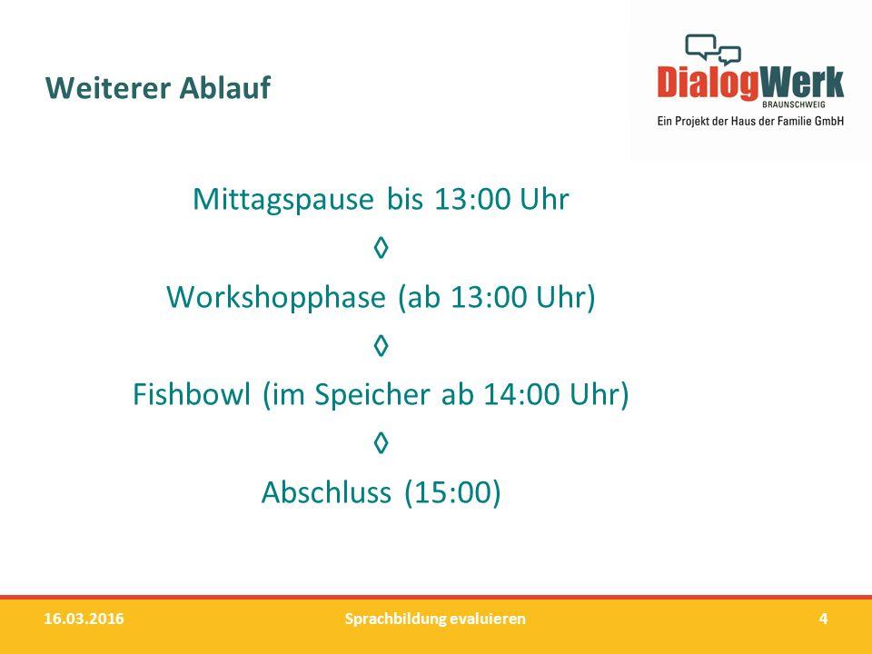 Weiterer Ablauf Mittagspause bis 13:00 Uhr ◊ Workshopphase (ab 13:00 Uhr) ◊ Fishbowl (im Speicher ab 14:00 Uhr) ◊ Abschluss (15:00) 16.03.2016Sprachbi