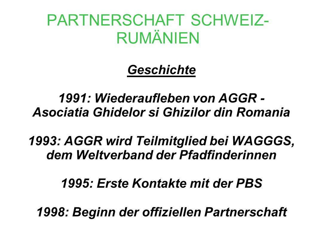 PARTNERSCHAFT SCHWEIZ- RUMÄNIEN Geschichte 1991: Wiederaufleben von AGGR - Asociatia Ghidelor si Ghizilor din Romania 1993: AGGR wird Teilmitglied bei WAGGGS, dem Weltverband der Pfadfinderinnen 1995: Erste Kontakte mit der PBS 1998: Beginn der offiziellen Partnerschaft
