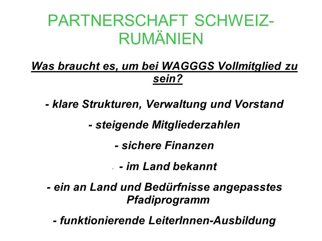 PARTNERSCHAFT SCHWEIZ- RUMÄNIEN Was braucht es, um bei WAGGGS Vollmitglied zu sein.