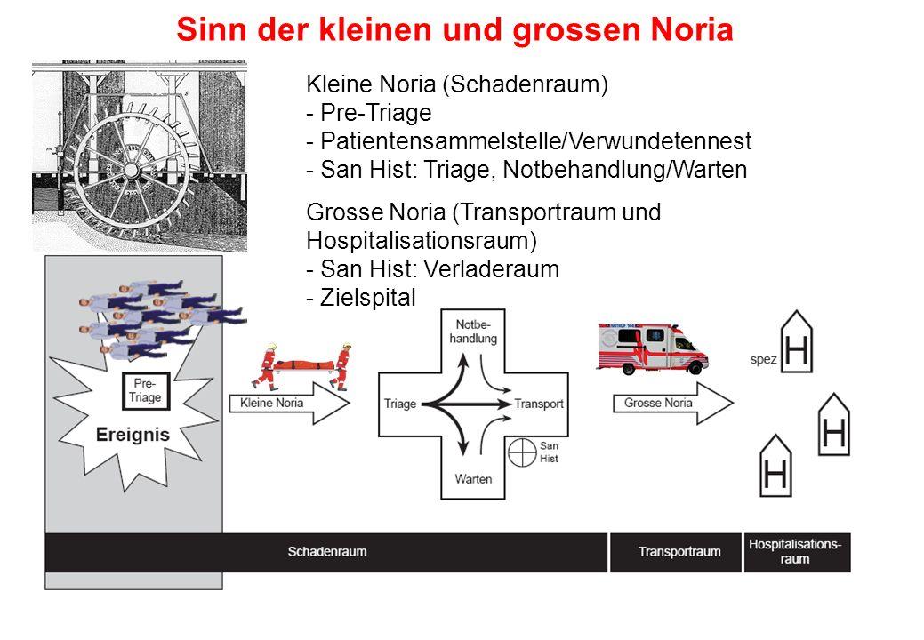 Kleine Noria (Schadenraum) - Pre-Triage - Patientensammelstelle/Verwundetennest - San Hist: Triage, Notbehandlung/Warten Grosse Noria (Transportraum u
