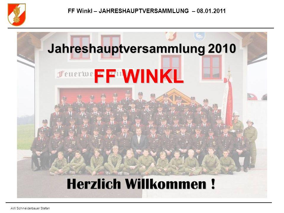 FF Winkl – JAHRESHAUPTVERSAMMLUNG – 08.01.2011 AW Schneiderbauer Stefan Jahreshauptversammlung 2010 FF WINKL Herzlich Willkommen !