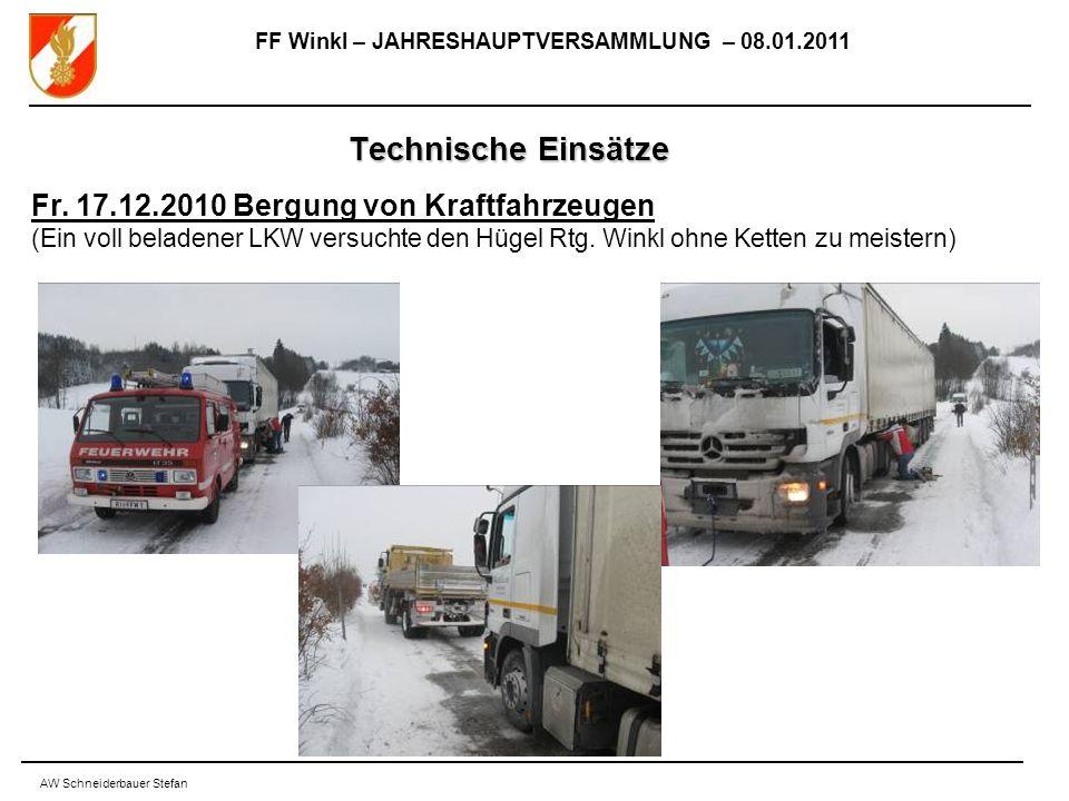 FF Winkl – JAHRESHAUPTVERSAMMLUNG – 08.01.2011 AW Schneiderbauer Stefan Technische Einsätze Fr.