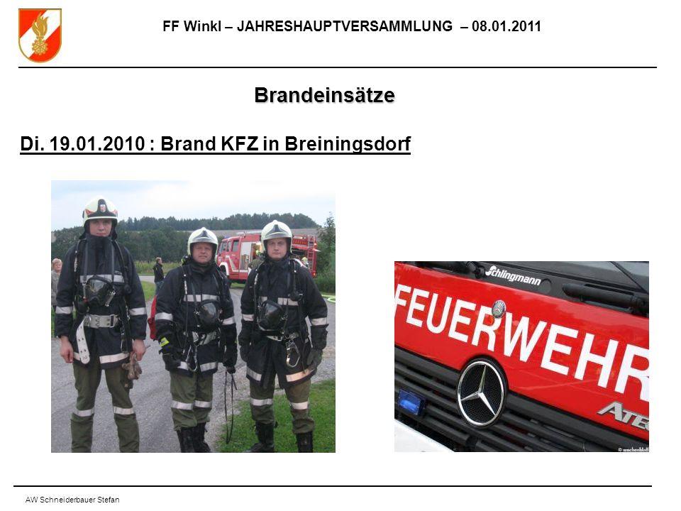FF Winkl – JAHRESHAUPTVERSAMMLUNG – 08.01.2011 AW Schneiderbauer Stefan Brandeinsätze Di.