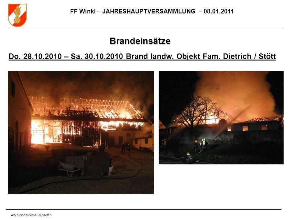 FF Winkl – JAHRESHAUPTVERSAMMLUNG – 08.01.2011 AW Schneiderbauer Stefan Brandeinsätze Do.