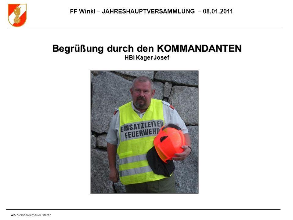 FF Winkl – JAHRESHAUPTVERSAMMLUNG – 08.01.2011 AW Schneiderbauer Stefan Begrüßung durch den KOMMANDANTEN HBI Kager Josef