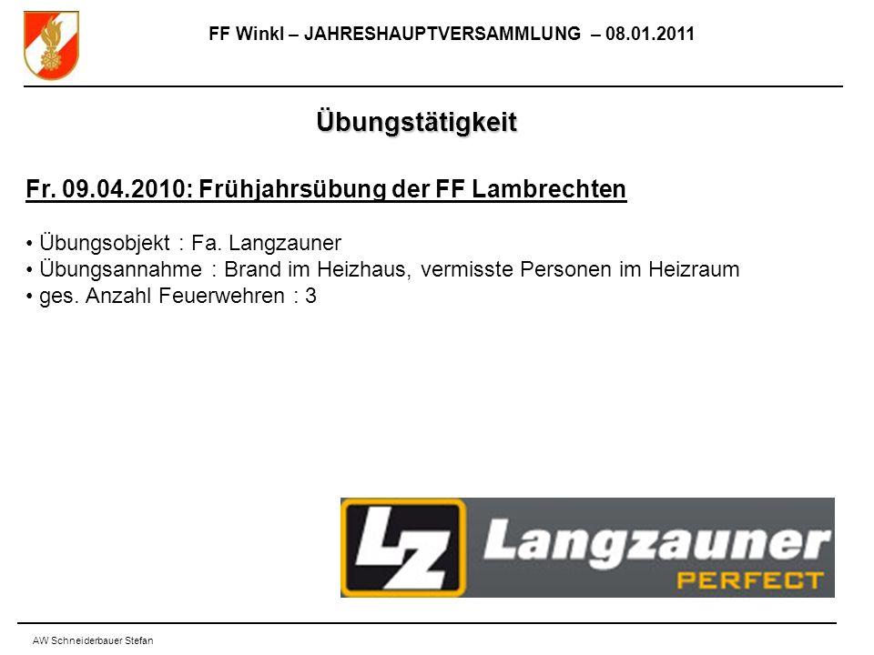 FF Winkl – JAHRESHAUPTVERSAMMLUNG – 08.01.2011 AW Schneiderbauer Stefan Übungstätigkeit Fr.