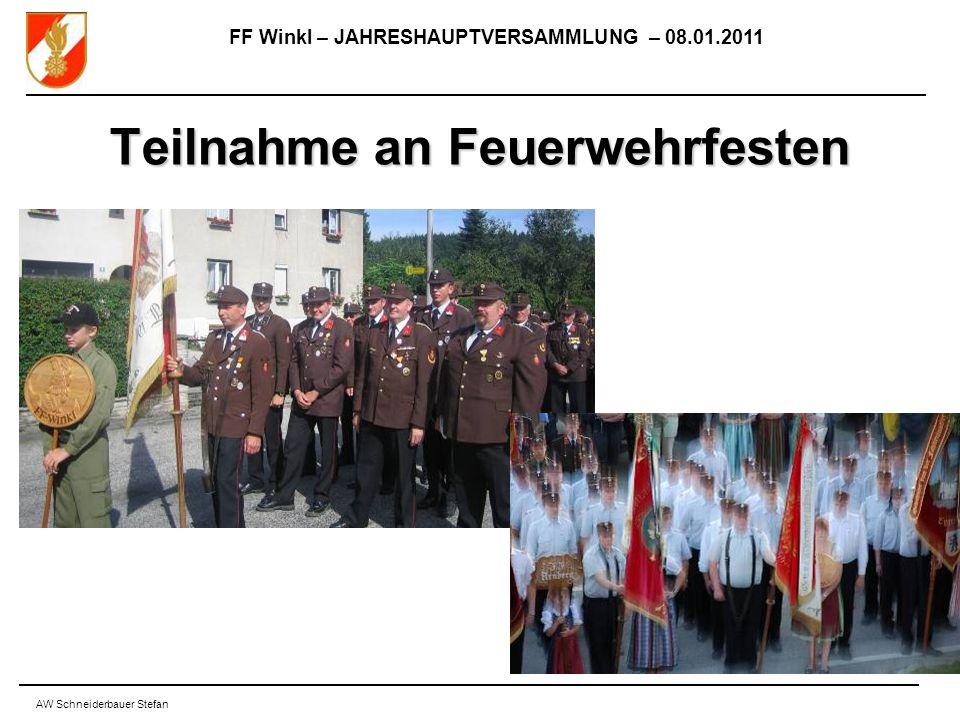 FF Winkl – JAHRESHAUPTVERSAMMLUNG – 08.01.2011 AW Schneiderbauer Stefan Teilnahme an Feuerwehrfesten