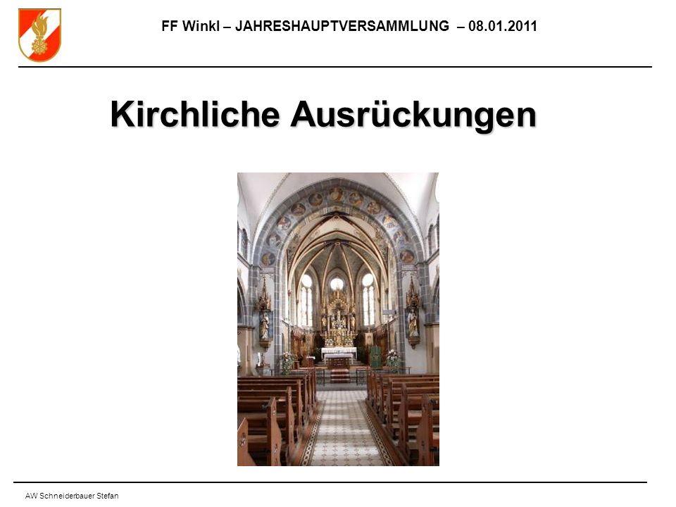 FF Winkl – JAHRESHAUPTVERSAMMLUNG – 08.01.2011 AW Schneiderbauer Stefan Kirchliche Ausrückungen