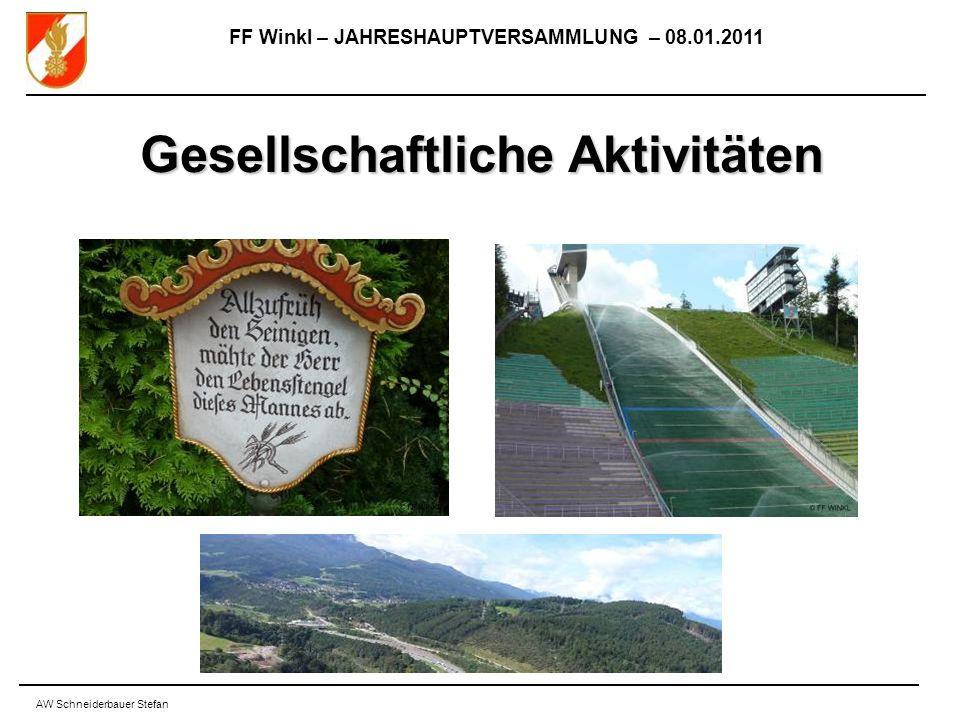 FF Winkl – JAHRESHAUPTVERSAMMLUNG – 08.01.2011 AW Schneiderbauer Stefan Gesellschaftliche Aktivitäten