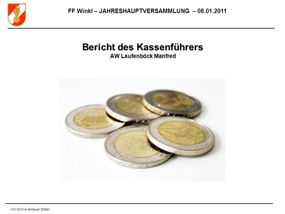 FF Winkl – JAHRESHAUPTVERSAMMLUNG – 08.01.2011 AW Schneiderbauer Stefan Bericht des Kassenführers AW Laufenböck Manfred