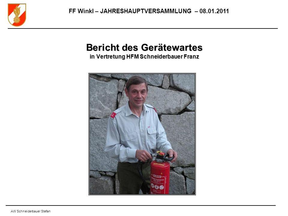 FF Winkl – JAHRESHAUPTVERSAMMLUNG – 08.01.2011 AW Schneiderbauer Stefan Bericht des Gerätewartes in Vertretung HFM Schneiderbauer Franz